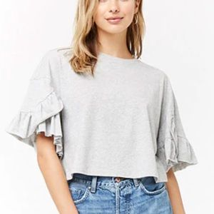 Gray Cotton Ruffle Cropped Tee